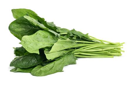 primo piano di un mazzo di spinaci crudi su uno sfondo bianco