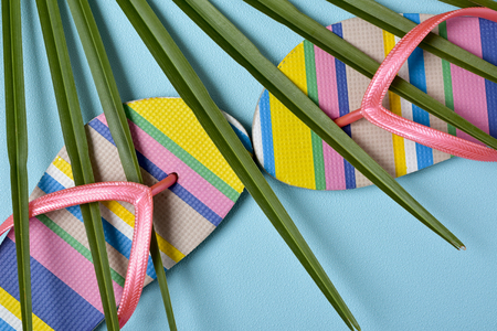 vacationers: closeup of a pair of colorful striped-patterned flip-flops with pink straps and a palm leaf on a blue background Stock Photo