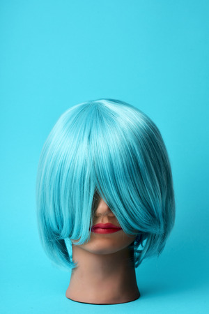 mannequin head: a mannequin head with a blue hair wig on a blue background