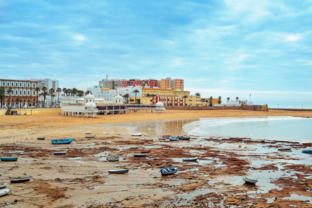 a panoramic view of La Caleta Beach in Cadiz, Spain, in the Mediterranean sea Imagens