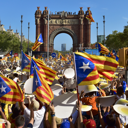 separatist: Barcelona, Spain - September 11, 2016: People partaking in a rally in support for the independence of Catalonia in Barcelona, Spain, during its National Day Editorial