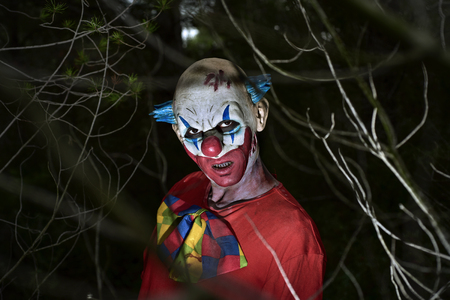 closeup of a scary evil clown in the woods, in the dark of night