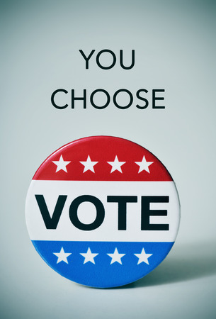 slight: text you choose and a badge with the word vote written in it, for the United States election, with a slight vignette added