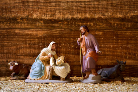 child jesus: the holy family, Child Jesus, the Virgin Mary and Saint Joseph, and the donkey and the ox in a rustic nativity scene