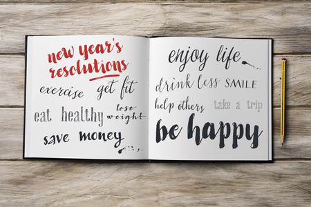 get help: high-angle shot of a pencil and a notebook with some new years resolutions written in it, such as exercise, get fit, eat healthy, save money, smile, enjoy life or be happy, on a rustic wooden surface