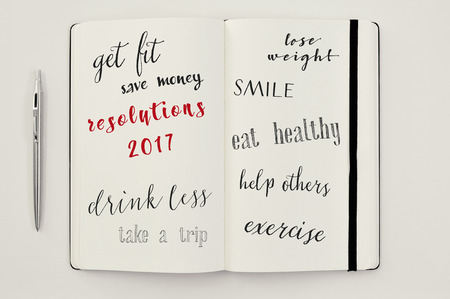 get help: high-angle shot of a notebook with some resolutions for 2107, such as get fit, save money, drink less, take a trip, lose weight, smile, eat healthy, help others or exercise