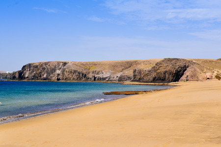 a view of the Playa Mujeres beach in Playa Blanca, Lanzarote, in the Canary Islands, Spain