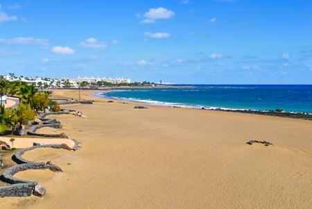 a view of the Playa de Matagorda beach in Puerto del Carmen, Lanzarote, in the Canary Islands, Spain