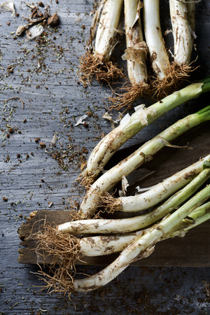 calsots: high-angle shot of some raw calcots, sweet onions typical of Catalonia, Spain, on a rustic wooden table Stock Photo