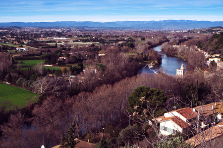 a view of the Orb River bordering Beziers, France, in winter Stock Photo