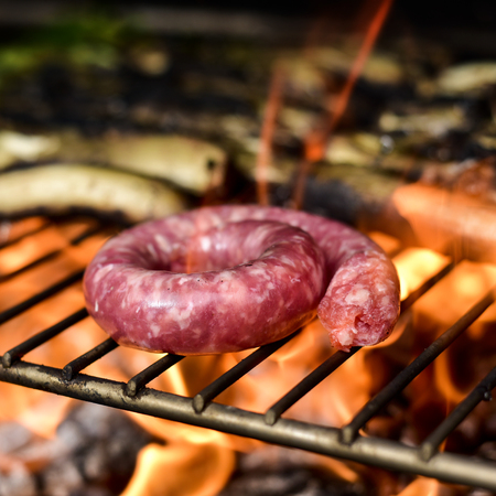 calsotada: closeup of a pork meat sausage being cooked in a barbecue, and some calcots, sweet onions typical of Catalonia, Spain, being grilled in the background