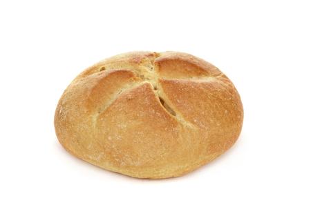 close-up van een broodje van Wenen op een witte achtergrond