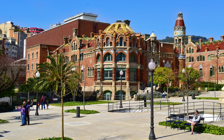 part of me: BARCELONA, SPAIN - MARCH 18, 2017: Visitors at the modernist complex of the Hospital de Sant Pau in Barcelona, Spain, which is part of the UNESCO World Heritage Site Works of Domenech i Montaner