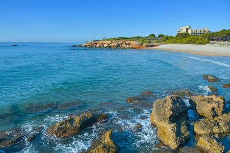seawater: a view of the Playa del Moro beach in Alcossebre, in the Costa del Azahar, Spain Stock Photo