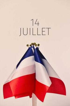 some french flags and the text 14 juillet, 14 july, the national day of France written in French, against an off-white background
