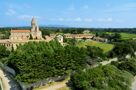 maritimes: aerial view of the Lerins Abbey in the Saint-Honorat island, France