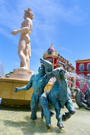 maritimes: a view of the fountain Fontaine du Soleil at the Place Massena square in Nice, France