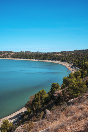 a view of the Mequinenza Reservoir, in the Ebro river, also known as Mar de Aragon, Sea of Aragon, in the Zaragoza province, Spain