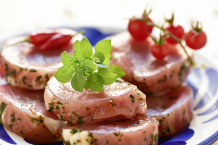 closeup of some raw marinated pork medallions in a white ceramic plate
