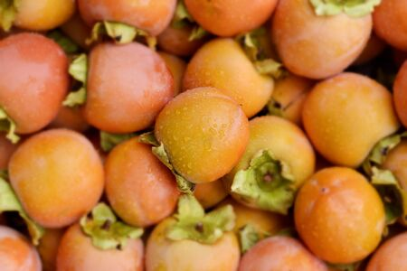 closeup of a pile of ripe persimmons after the harvesting Stock Photo