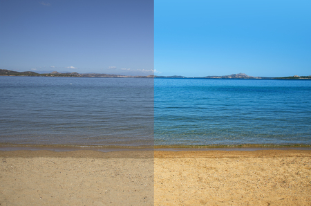 picture of a quiet beach and sea before and after the image editing process Stock Photo