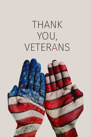 closeup of the hands of a man patterned with the flag of the United States and the text thank you veterans against a beige background