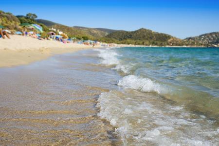 a view of the Spiaggia di Kala e Moru beach in Quartu Sant'Elena, Sardinia, Italy