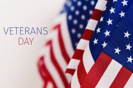 some american flags and the text veterans day against an off-white background