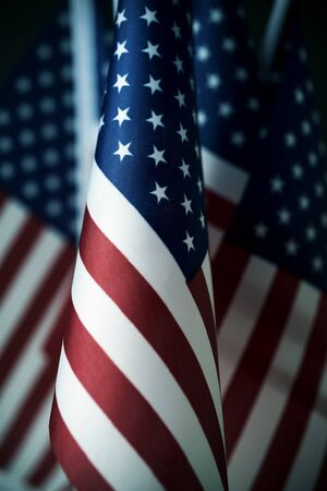 closeup of some american flags put in line, with a retro effect Banque d'images