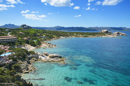BAJA SARDINIA, ITALY - SEPTEMBER 21, 2017: A view of the coast of Baja Sardinia in the famous Costa Smeralda, in Sardinia, Italy Éditoriale