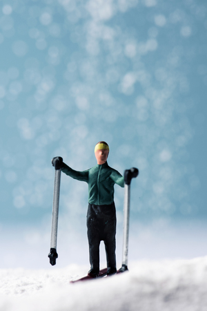 a miniature skier in a snowy landscape on winter time