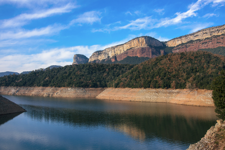 a view of the Sau Reservoir, in the Ter River, in the Province of Girona, Catalonia, Spain Stock Photo