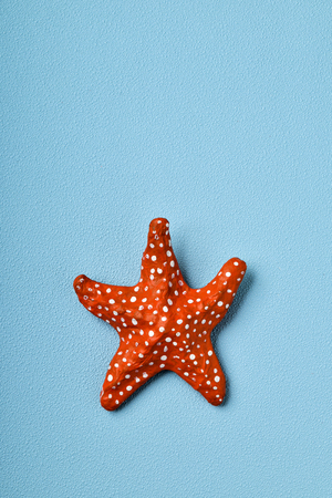 a handmade papier-mache starfish on a blue background with a blank space on top