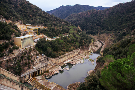 a view of the dam of the Sau Reservoir, in the Ter River, in the Province of Girona, Catalonia, Spain