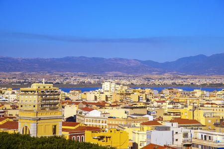 an aerial view of Cagliari, in Sardinia, Italy, with the Montelargius lake and Quartu Sant Elena in the background Banque d'images