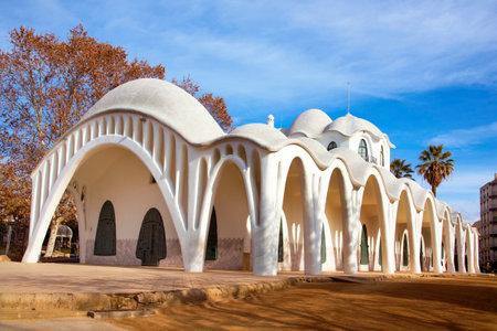 a view of the modernist building Masia Freixa, built in 1907, in the Sant Jordi public park, in Terrassa, Spain 에디토리얼
