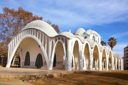 a view of the modernist building Masia Freixa, built in 1907, in the Sant Jordi public park, in Terrassa, Spain Editoriali