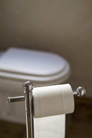 Closeup of a roll of toilet paper in a roll holder in front of a toilet with its seat down in a beige restroom, with some blank space on top Stock Photo