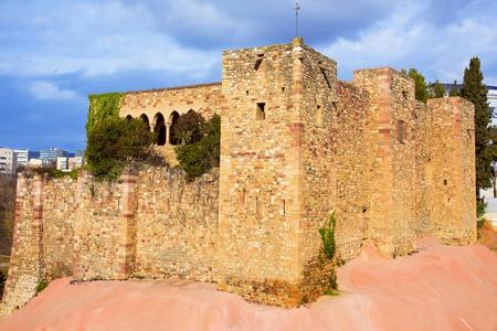 View of the medieval Vallparadis Castle in Terrassa, Spain, in the Vallparadis public park