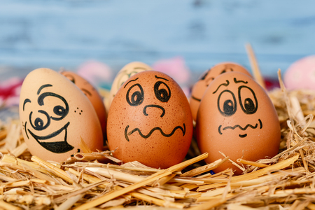 closeup of some brown different eggs with funny faces on a pile of straw Stock Photo