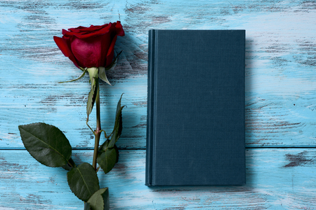 high angle view of a red rose and a book for Sant Jordi, the Catalan name for Saint George Day, when it is tradition to give red roses and books in Catalonia, Spain