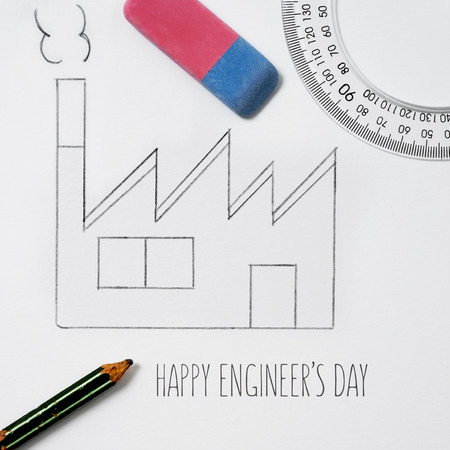 high angle shot of a simple sketch of a factory, drawn by myself, an eraser, a ruler, a protractor, a pencil and the text text happy engineers day 스톡 콘텐츠 - 103431933