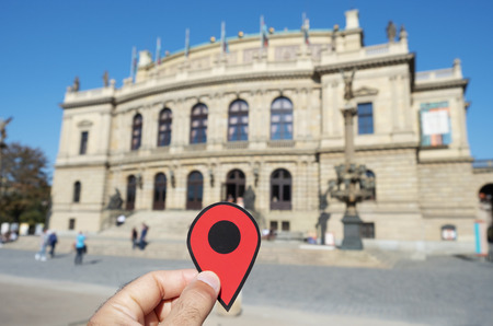 Red marker pointing to the Rudolfinum building in Prague, Czech Republic