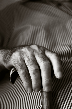 Closeup of the hands of an old Caucasian man with a walking stick