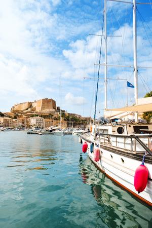 A view over the Mediterranean sea at the port of Bonifacio, in Corse, France
