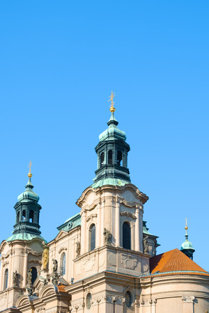 Closeup of the top section of the Saint Nicholas church in the Stare Mesto district in Prague