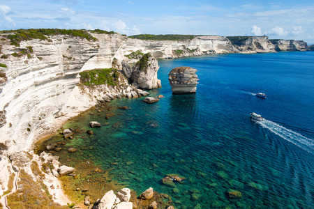A view of the picturesque landscape of cliffs over the Mediterranean sea in Bonifacio, Corse, in France Stock fotó