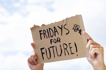 closeup of a young caucasian man outdoors showing a brown cardboard signboard with the text fridays for future handwritten in it