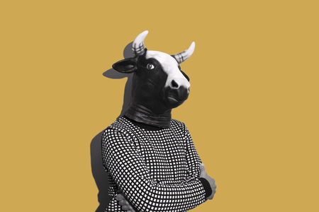 young caucasian man with a cow mask, in black and white, on a yellow background with some blank space on his both sides