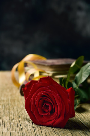 closeup of a red rose, and a pile of books for Sant Jordi, the Catalan name for Saint George Day, when it is tradition to give red roses and books in Catalonia, Spain